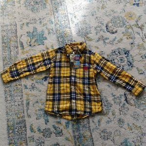Wrangled Jean Yellow & Blue Button Down Flannel