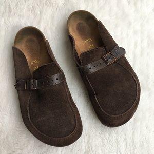 Birkenstock Shoes - Birkenstock Brown Suede and Leather Clogs sz 37 L6