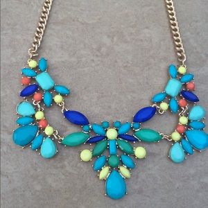 Gold Tone Green & Blue Statement Necklace