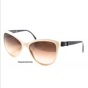 Chanel Cream & Black Quilted Bow Cat Eye Sunnies