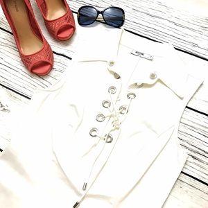 Moschino Dresses & Skirts - MOSCHINO Vintage White Grommet Midi Dress