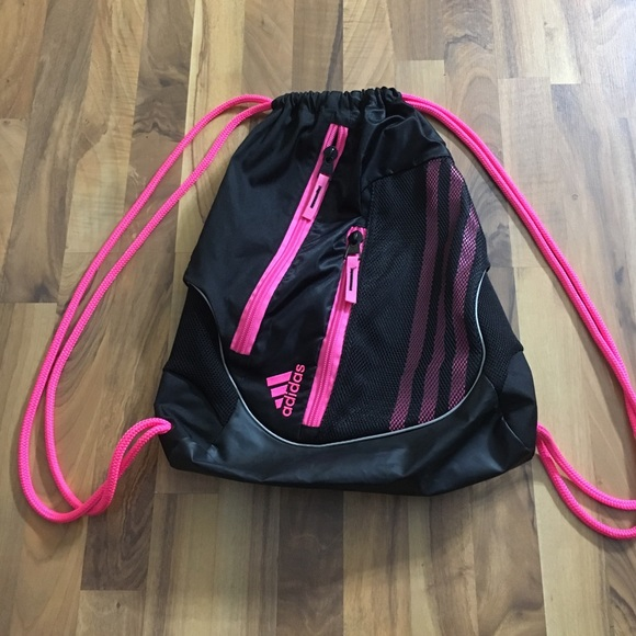 407529bcfb Adidas Handbags - Hot Pink and Black Adidas Sport Drawstring Bag