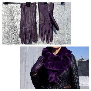 Aris Accessories - Stylish Genuine Leather Purple Gloves.