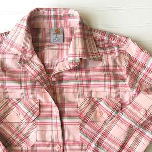 Carhartt Tops - Carhartt Pink Plaid Button Down Shirt