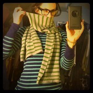 Gray Scarf w/ Green Stripes!