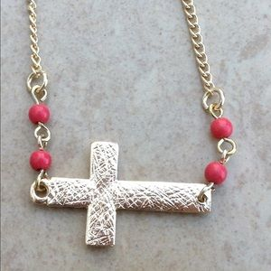 Gold Tone Coral Bead Sideways Horizontal Cross