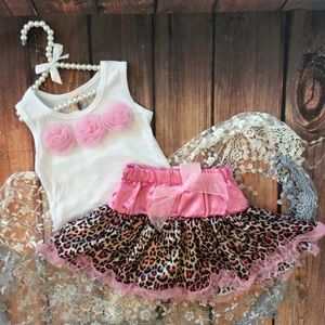Other - Boutique Toddler Girl Tutu Skirt and Rosette Top
