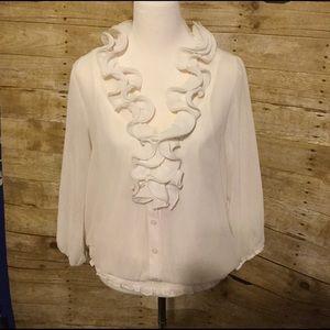 Tops - White ruffle blouse