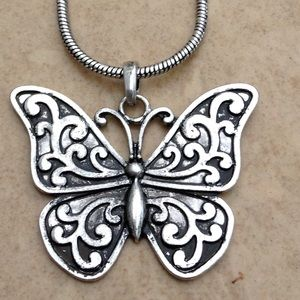 Silver Tone Oxidized Butterfly Pendant Necklace