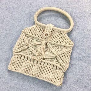 Vintage Macrame / Crochet Lined Boho Bag
