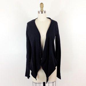 Velvet Sweaters - Draped Black Jersey Cardigan Soft Long Velvet