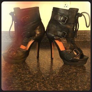 L.A.M.B. Shoes - L.A.M.B. Leather Lace Up Buckle Platform Heels