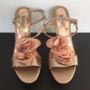 Badgley Mischka Shoes - Badgley Mischka Randee Champagne Flower Heels 8