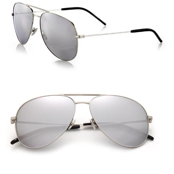 8d02c4fafb Saint Laurent Silver Aviator Sunglasses 😎
