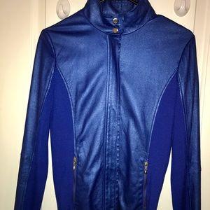 St. John Jackets & Blazers - St. John 100% leather metallic blue jacket!