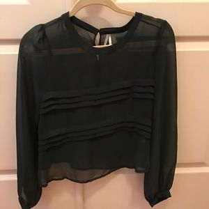 Sheer Green Crop Blouse, size small