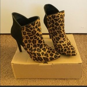 Zara animal leopard print combination ankle boot
