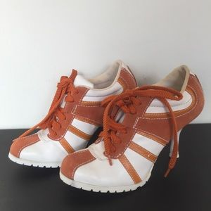 Paprika Shoes - Paprika Orange Striped Sneaker Heels 6