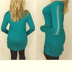 Tops - Cut Out Long Sleeved Tee Tunic Teal SML