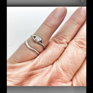 Sterling silver curve ring & CZ solitaire ring