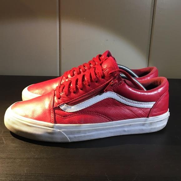 2f279b1571 Red Leather Zipper Vans