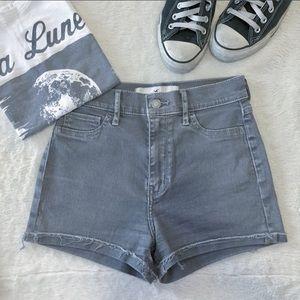 Hollister Pants - Gray High Waisted Hollister Jean Shorts