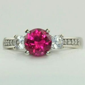 Amour Jewelry - 10K White Gold Ruby & Sapphire Ring Size 5