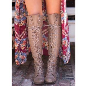 Boutique Shoes - Beige Knee High Oxford Lace Up Riding Boots