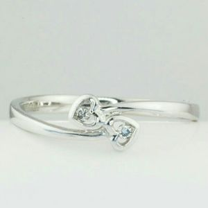 10K White Gold Two Hearts Diamond Ring Size 7.5