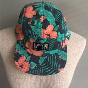 The Hundreds Accessories - 💣 The Hundreds 5 Panel Cap Hibiscus Leather Cap
