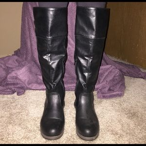 Journee Collection Shoes - Black Leather Boots