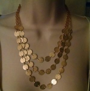 Beautiful triple layer gold tone necklace