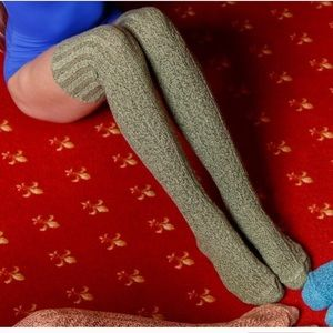 Peony and Moss Accessories - Dried Herb Marled Thigh High High Socks
