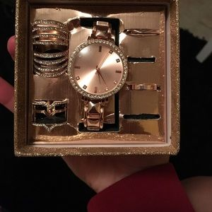 Rose gold watch and ring set