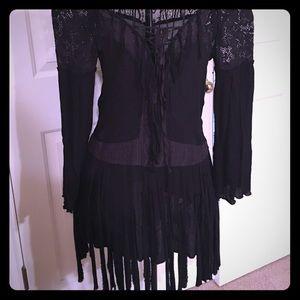 Free People black mini fringe dress size XS