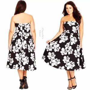 City Chic Dresses & Skirts - City Chic Rose Fit & Flare Midi Dress Plus Size