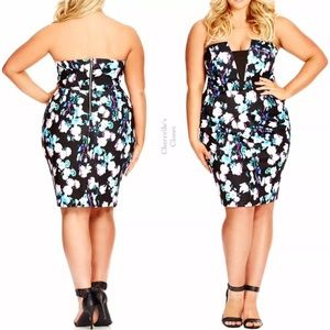 City Chic Dresses & Skirts - City Chic Strapless Floral Sheath Dress Plus Size