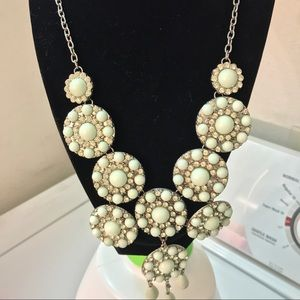 Mint and rhinestone statement necklace