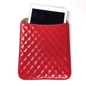 Red patent leather tablet sleeve