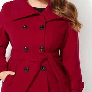 Black Rivet Jackets & Blazers - Double breasted Red pea coat