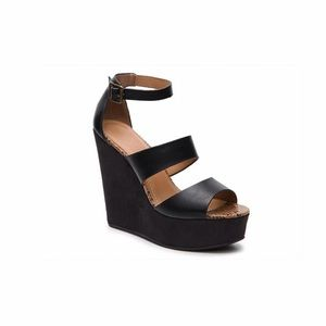 Urban Outfitters Shoes - Faux Leather Ankle Strap Platform Wedges