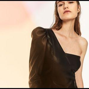 Zara Dresses & Skirts - Faux Leather One Shoulder Mini Dress