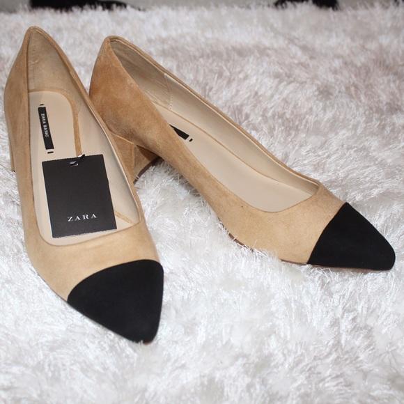 844f01b02a29 Zara mid-heels shoes contrasting toes