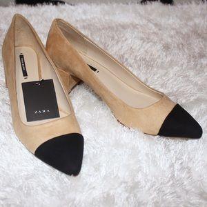 Zara mid-heels shoes contrasting toes
