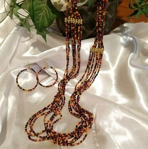 Jewelry - UNIQUE BEADED NECKLACE & EARRINGS
