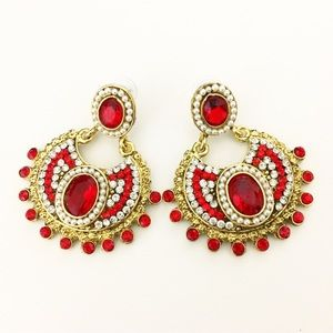 Red Gold Chandelier Indian Bollywood Earrings