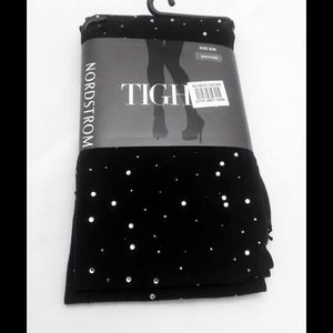 TIGI Accessories - New Nordstrom Black Tights Rhinestones Mini Studs