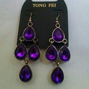 Jewelry - Beautiful purple stone Chandelier earrings