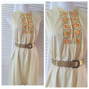 1960's Vintage Embroidered Nightgown or Dress! Mod