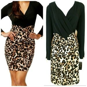 Thalia Sodi Color Block Leopard Dress XL